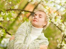Woman dreaming outdoors Stock Photo