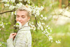 Woman dreaming outdoors Royalty Free Stock Image