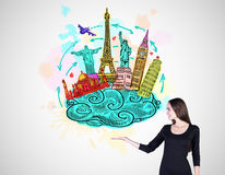 Woman dreams a travel Stock Photos