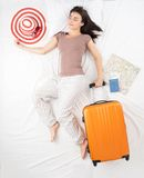 Woman dreams about vacation concept Royalty Free Stock Images