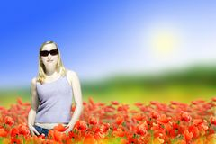 Woman on dreamy meadow royalty free stock images