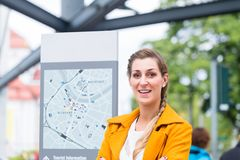 Woman in Dresden at Bus station Stock Photography
