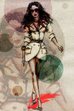 Woman in dress. Hand painted fashion illustration Stock Images