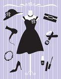 Woman Dress and Accessories. Illustration of woman dress and accessories Royalty Free Stock Photo