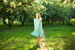 Woman in dress among apple blossoms Stock Photos