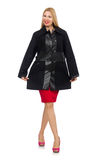 The woman in dress and black coat Royalty Free Stock Photography