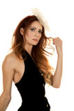 Woman in dress black vest close serious royalty free stock photography