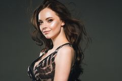 Woman in dress, brunette with long hair over dark background fem. Ale portrait. Studio shot royalty free stock images