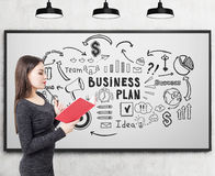 Woman in dress and business plan icons. Side view of a young businesswoman in a gray dress reading a red book near a whiteboard with black business plan icons Stock Photo