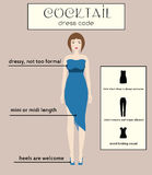 Woman dress code infographic. Cocktail. Female in dressy blue midi dress Royalty Free Stock Photos