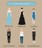 Woman dress code infographic. From white tie to business casual. Females in different types of dress and clothes Royalty Free Stock Images
