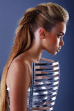 Woman in dress with creative hairstyle royalty free stock images