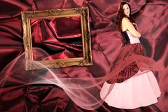 Woman with Dress with crinoline and picture frame. Woman with Dress with a crinoline and picture frame on Fabric pleated collage royalty free stock photography