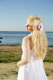 Woman in dress enjoy sun heat Stock Photos