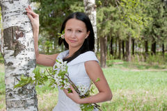 Woman in the dress of fiancee in summer in a park Royalty Free Stock Images
