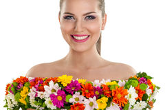 Woman in dress of flower Stock Images