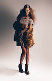Woman in dress and fur coat Stock Photography