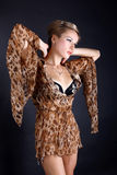 Woman in dress with leopard style Stock Photography