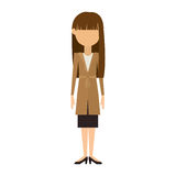 Woman in dress and long brunette hair. Vector illustration Royalty Free Stock Images