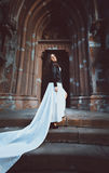Woman in dress with long white veil walking on old stone stair Royalty Free Stock Photo