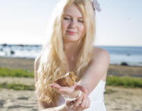 Woman in dress looking at brown clam Royalty Free Stock Photography