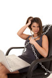 Woman dress mad laptop chain Stock Photo