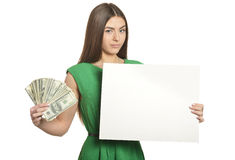 Woman in dress with money Stock Photo