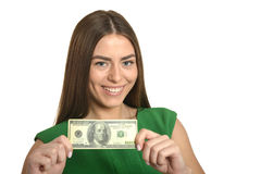 Woman in dress with money Stock Image