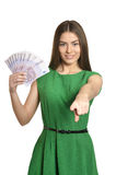 Woman in dress with money Stock Photography