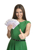 Woman in dress with money Royalty Free Stock Photos