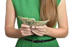 Woman in dress with money Stock Photos