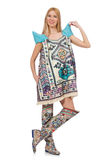 The woman in dress with oriental prints isolated Stock Photos