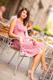 Woman in dress outdoor. Pretty female in summer time stock photo
