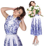 Woman in a dress with a pattern gzhel Stock Images