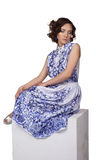 Woman in a dress with a pattern gzhel Stock Photography
