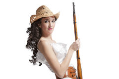 Woman in dress with pistol Royalty Free Stock Images