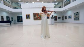 Woman in a dress playing violin, standing in a museum room. 4K stock video