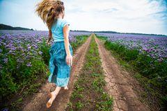 Woman in a dress on the rural road. Woman in a dress runs barefoot on the rural road along the summer meadow full of purple flowers stock photo