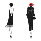 Woman in a dress of the 20`s. Woman in clothes in vintage style 1920`s. Retro fashion vector illustration isolated on white background. Back view Stock Images