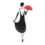 Woman in a dress of the 20`s. Woman in cocktail dress with a fan in vintage style 1920`s. Retro fashion vector illustration isolated on white background. Back Stock Photo
