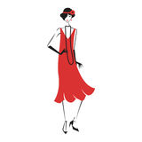 Woman in a dress of the 20`s. Woman in cocktail dress in vintage style 1920`s. Retro fashion vector illustration  on white background Stock Images