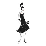 Woman in a dress of the 20`s. Woman in cocktail dress in vintage style 1920`s. Retro fashion vector illustration  on white background Royalty Free Stock Images