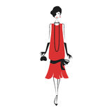 Woman in a dress of the 20`s. Woman in cocktail dress in vintage style 1920`s. Retro fashion vector illustration  on white background Royalty Free Stock Photos