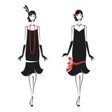 Woman in a dress of the 20`s. Womans in cocktail dress in vintage style 1920`s. Retro fashion vector illustration isolated on white background Royalty Free Stock Photo