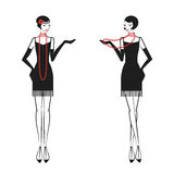 Woman in a dress of the 20`s. Womans in cocktail dress in vintage style 1920`s. Retro fashion vector illustration isolated on white background Stock Images