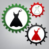 Woman dress sign with tag. Vector. Three connected gears with icons at grayish background.. Illustration. vector illustration