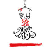 Woman dress Silhouette. Words Best dress.Black,red Royalty Free Stock Photography