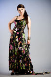 Woman in dress with spring flowers Royalty Free Stock Images
