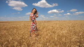 Woman in dress stands in the middle of the field with wheat and straightens hair stock footage