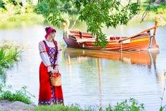 Woman in dress suit stylized Ukrainian folk Royalty Free Stock Image